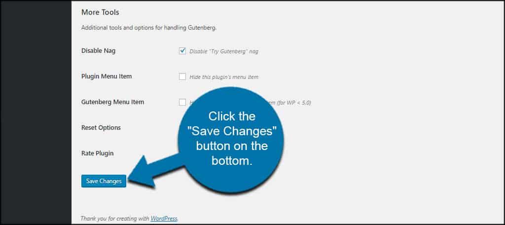 Save Gutenberg Changes