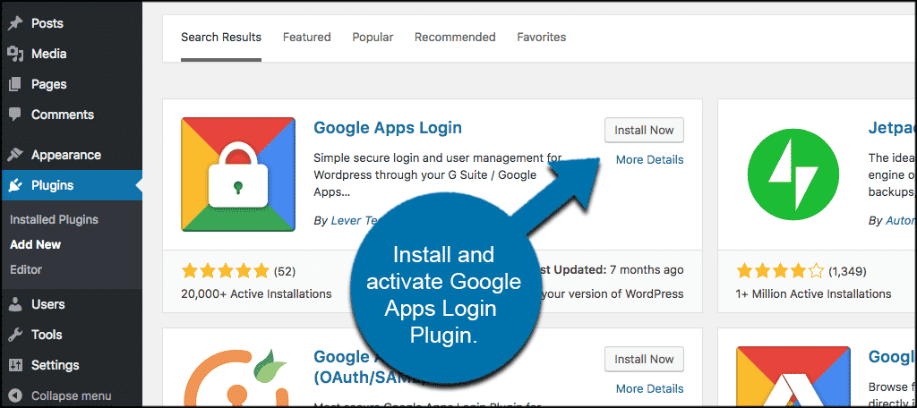 Install and activate google apps plugin