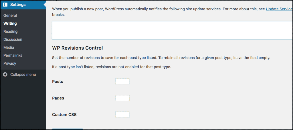 Wp revisions control settings for custom post types