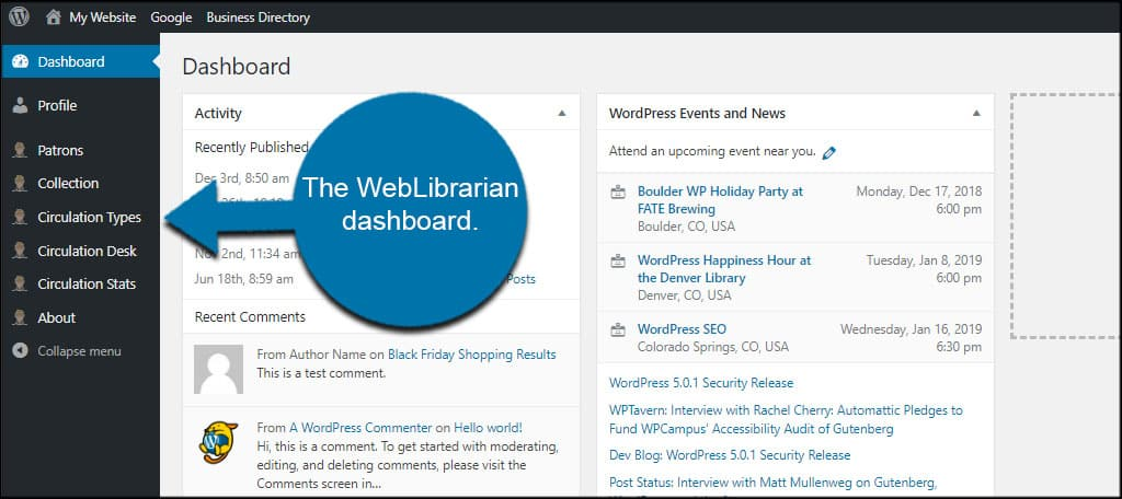 WebLibrarian Dashboard
