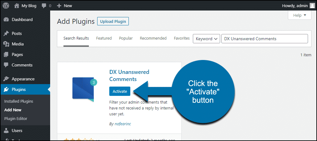click to activate the WordPress DX Unanswered Comments plugin