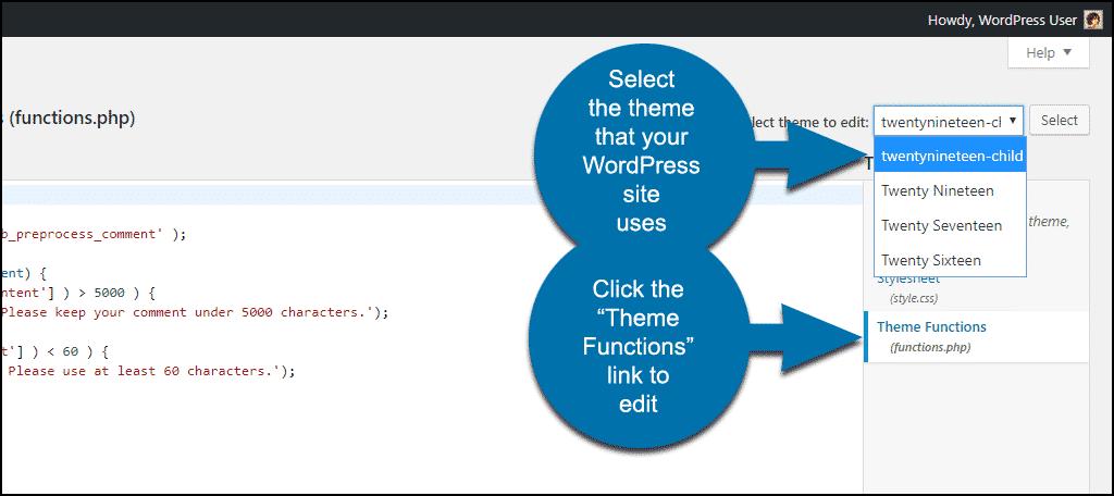 Editing a file in a WordPress theme