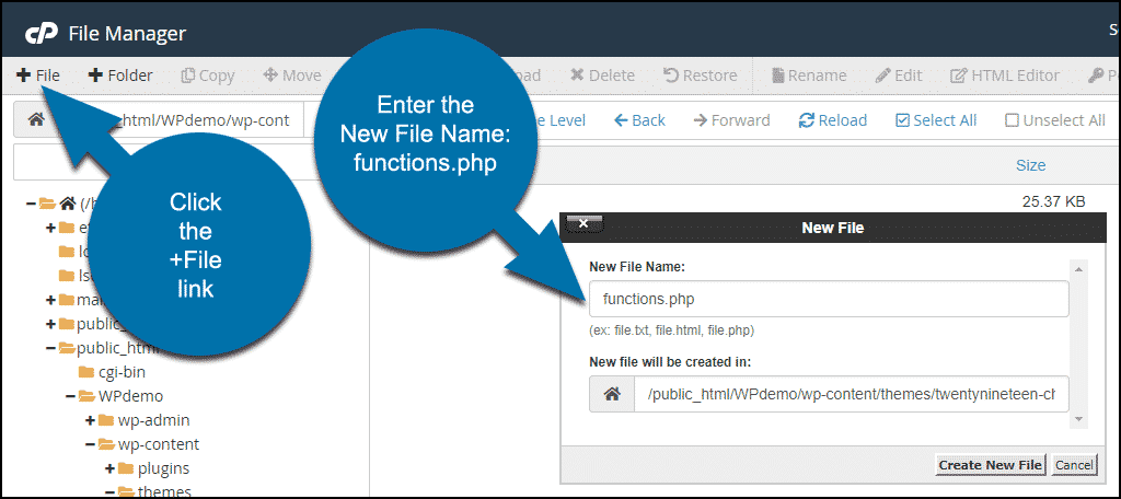 Creating a new file in cPanel file manager