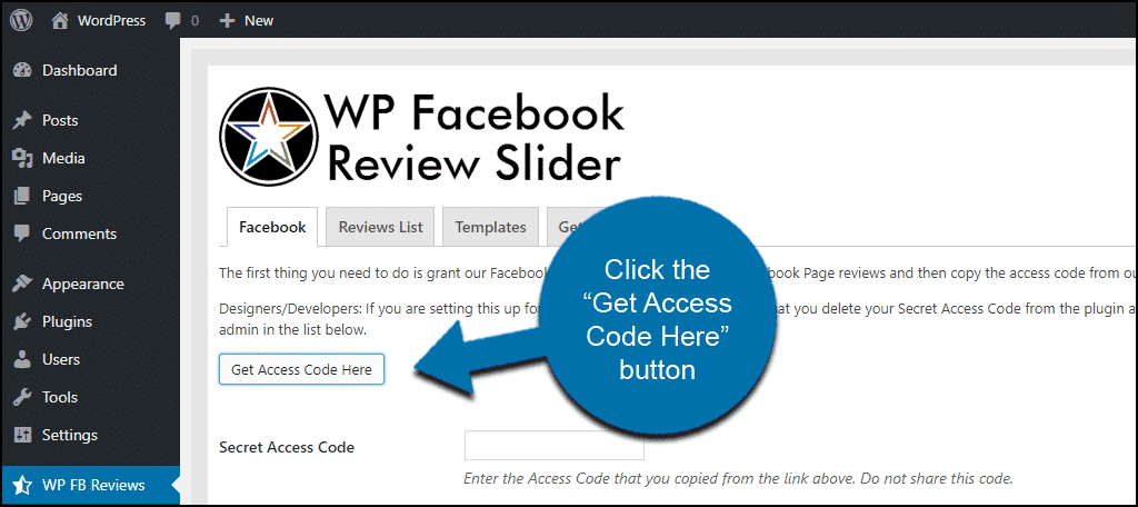 WordPress Facebook reviews how to get access code