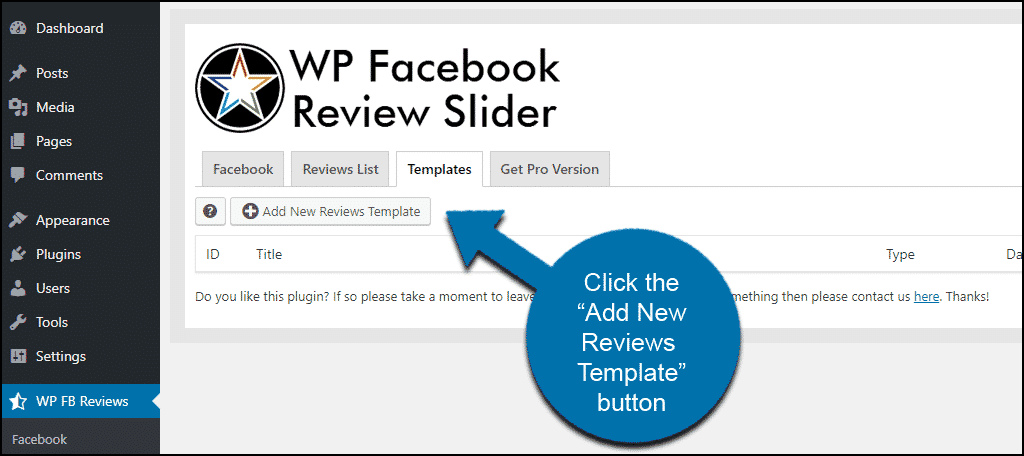 WordPress Facebook reviews how to add a template