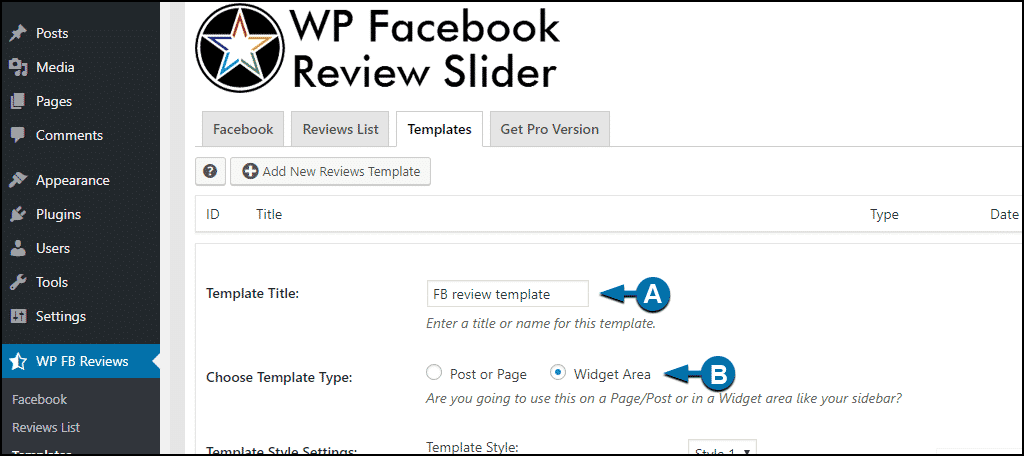 WordPress Facebook reviews template configuration