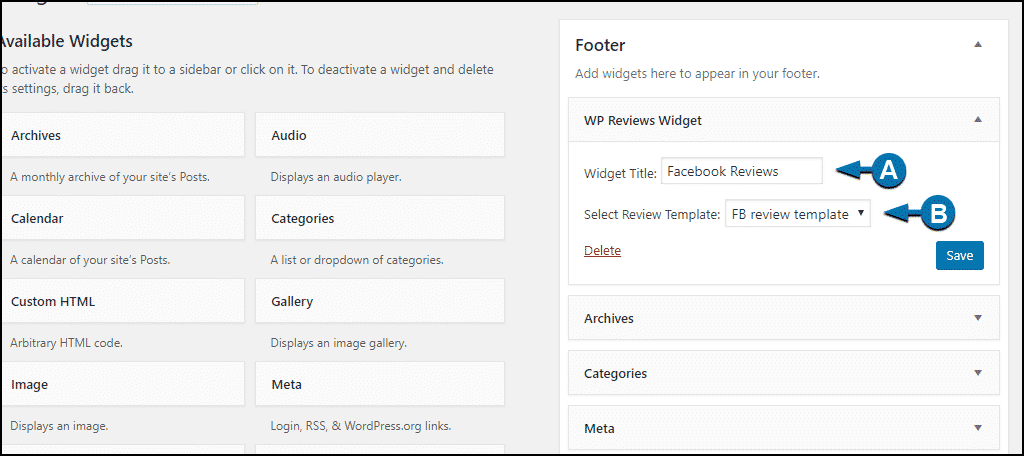 WordPress Facebook reviews widget configuration