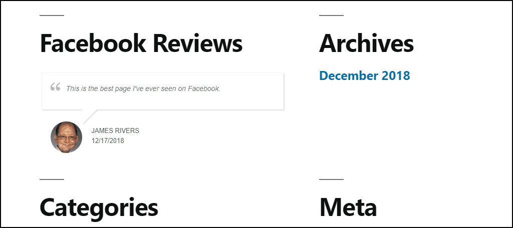 WordPress Facebook reviews final results