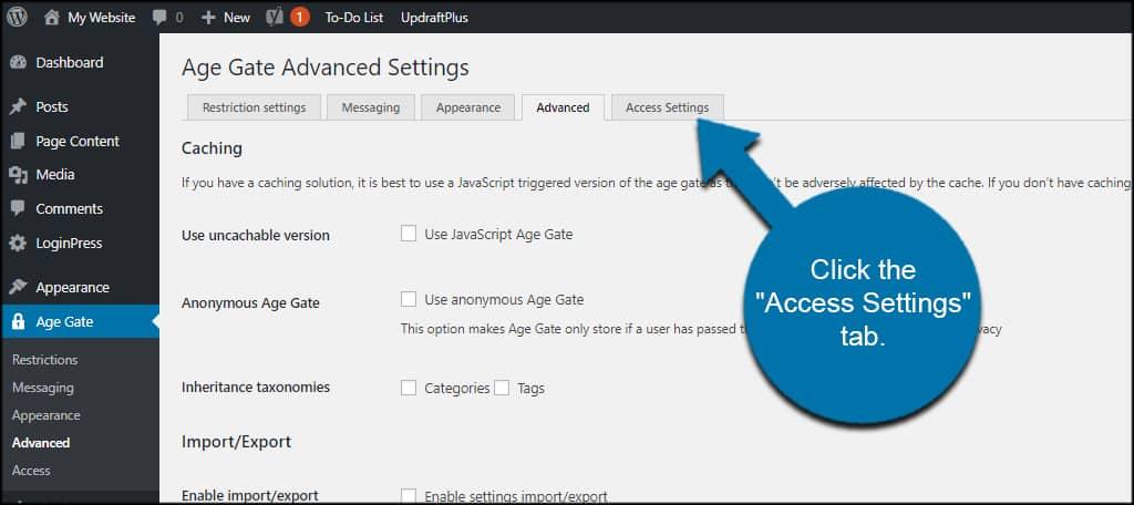 Access Settings Tab