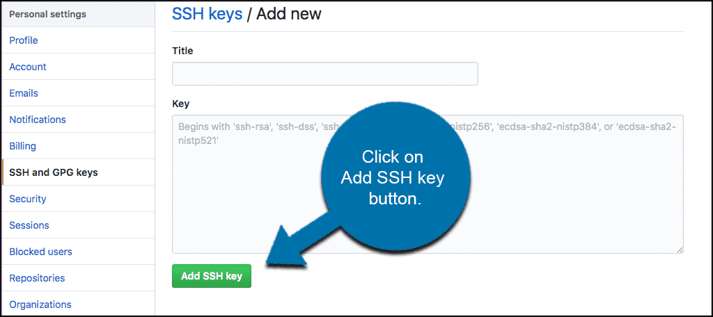 Click on the add ssh key button