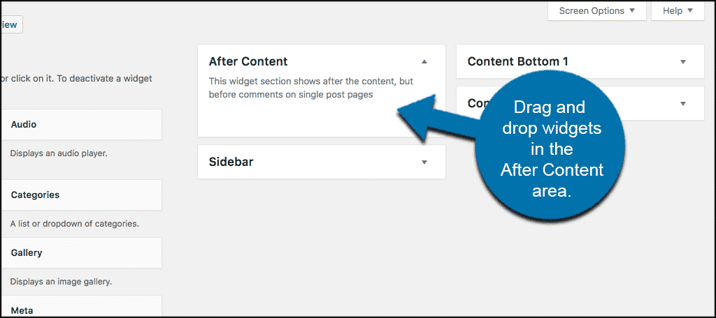 Drag and drop widgets in after content area