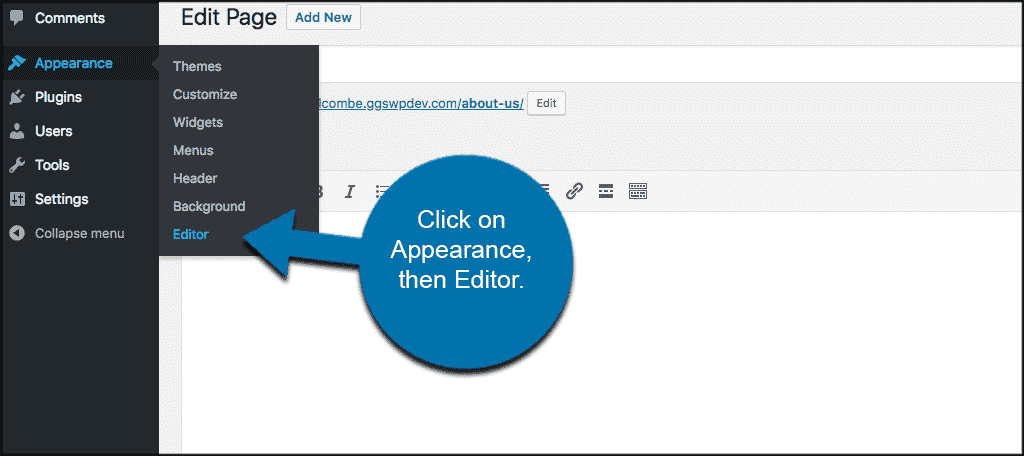 Click on appearance then editor to access sidebar.php file