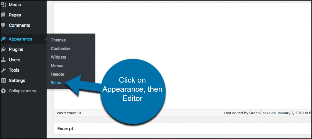 Click on appearance then editor