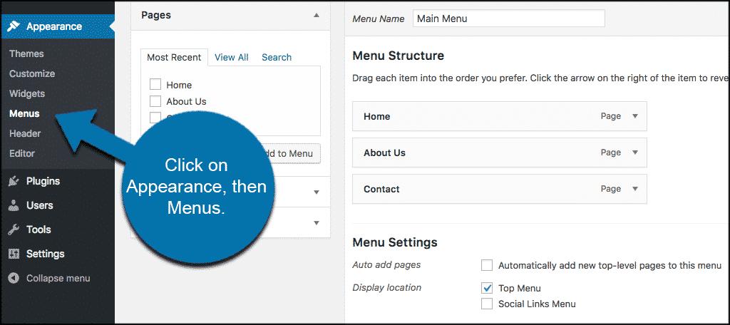 Click on appearance then menus to add custom post types WordPress menus