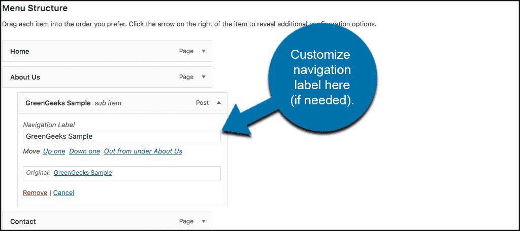 Customize wordpress navigation menu label here