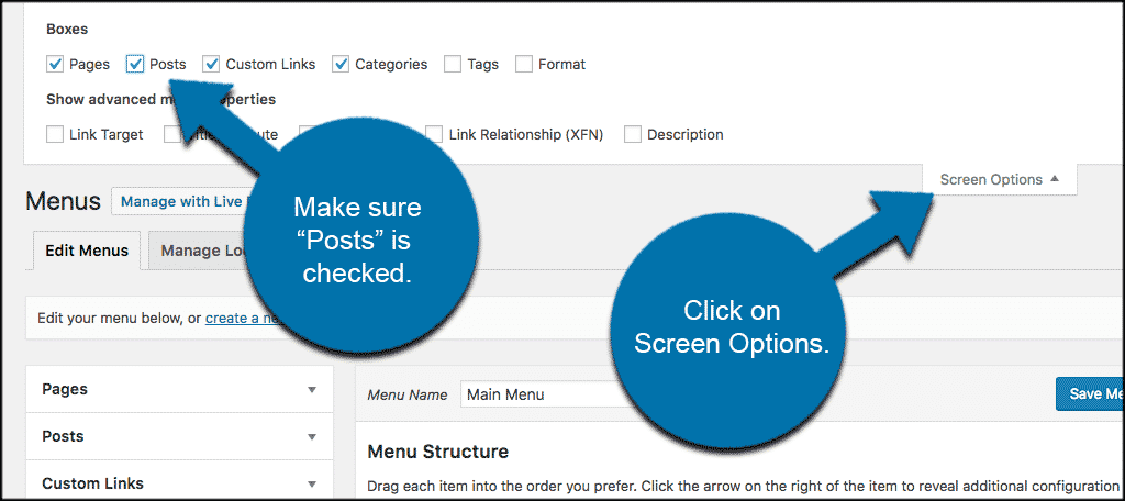 Click on screen options to access the posts box and add it to wordpress menu