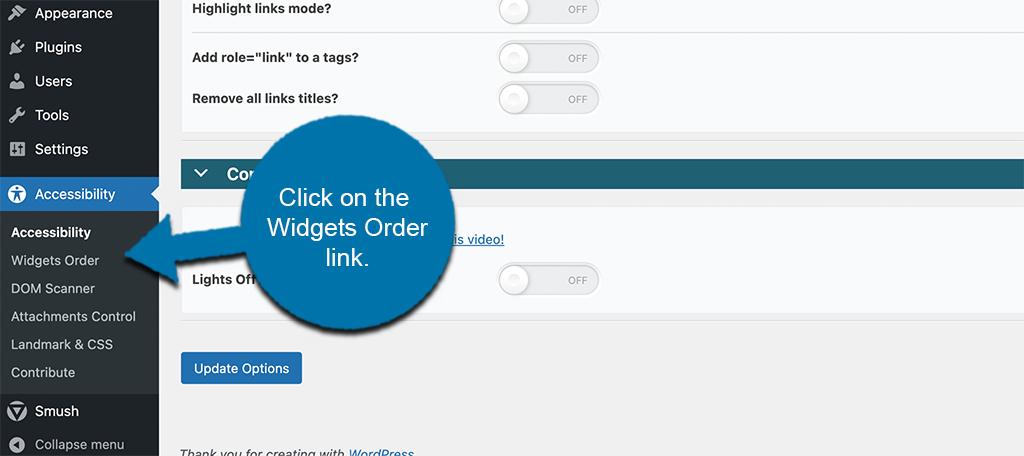 Click widgets order link