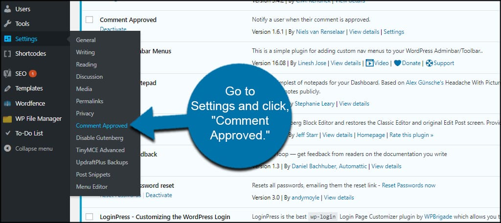 Comment Approved Settings