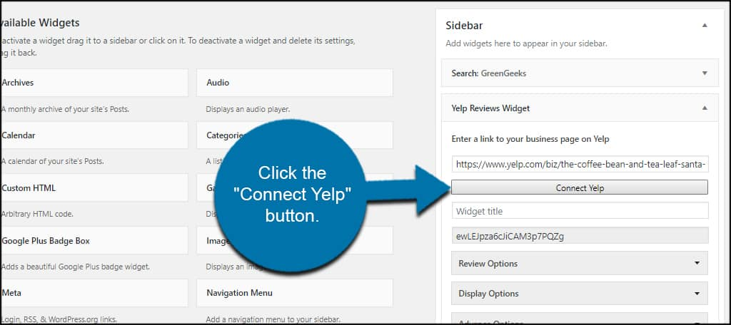 Connect Yelp Button