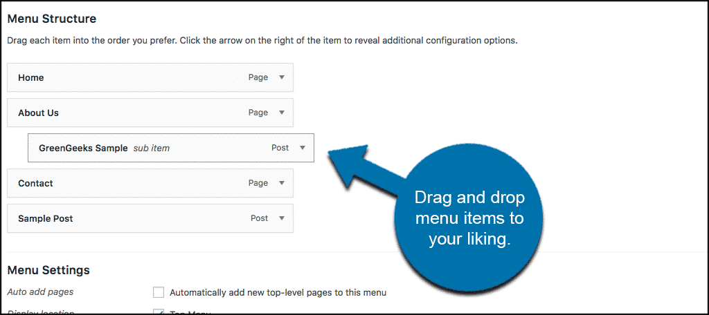 Drag and drop custom post types to display custom post types WordPress menus
