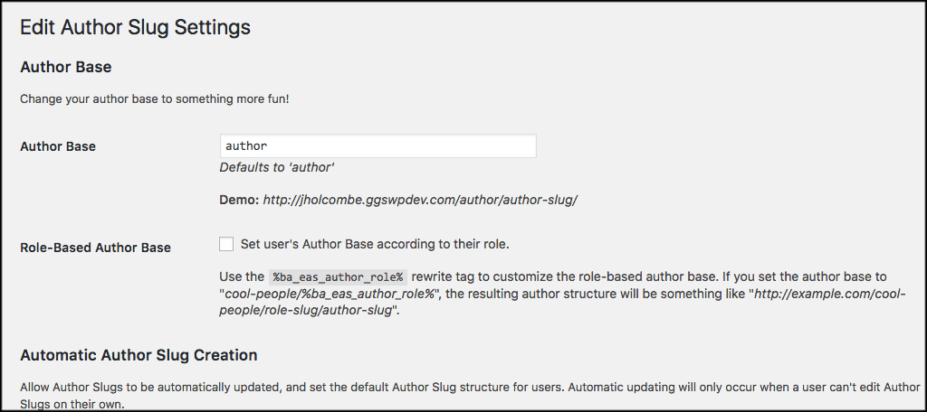 Edit author slug settings page