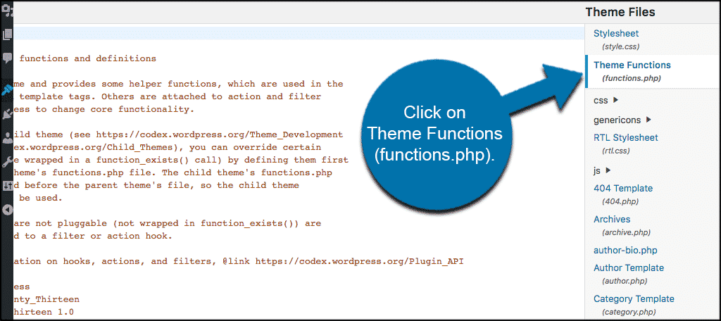 Click on the functions.php file tab