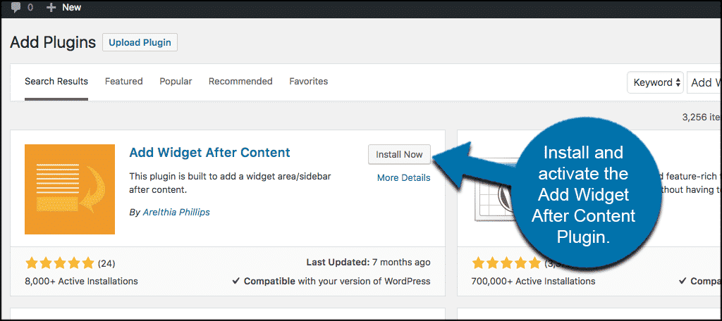 Install and activate the add widget after content plugin