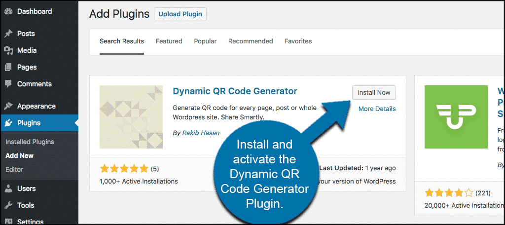 Install and activate dynamic qr code generator plugin