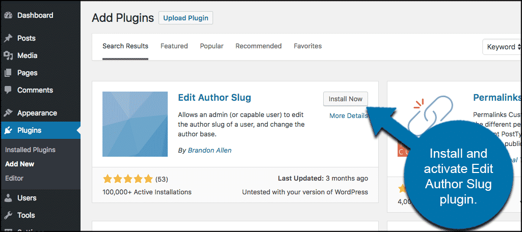 INstall and activate edit author slug plugin