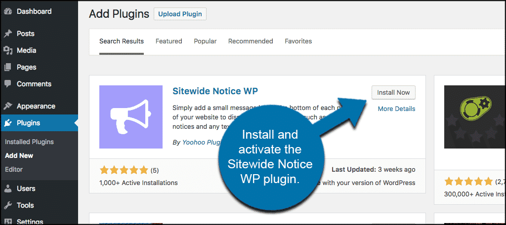 Install and activate the sitewide notice wp plugin