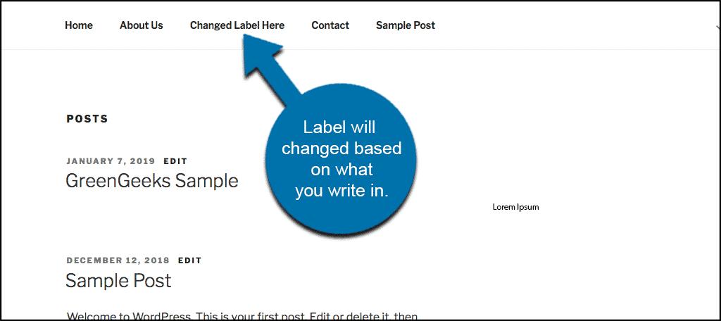 Wordpress navigation label change on front end of website