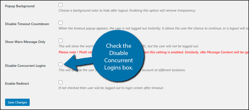 Disable Concurrent Logins