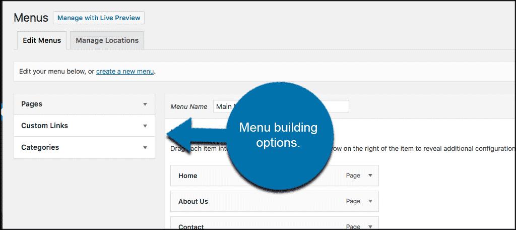 Wordpress navigation menu building options