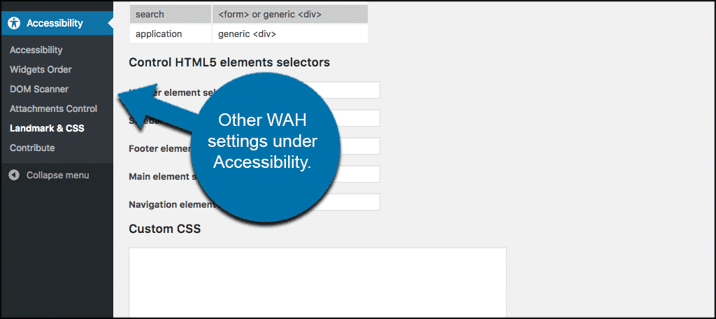 Other wah setting listed under accessibility