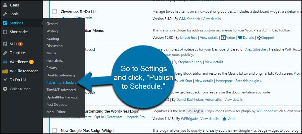 Publish Schedule Settings
