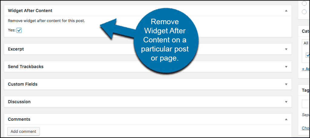 Remove widget after content in the dropdown box