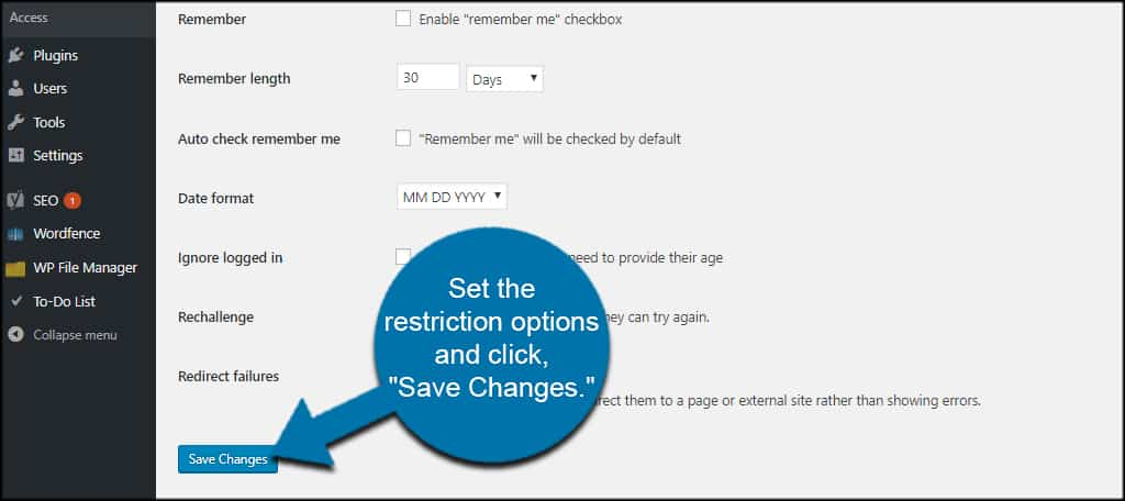 Save Restrictions