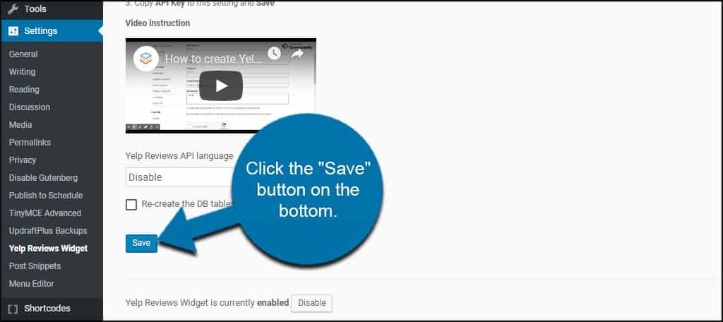 Save Yelp Settings