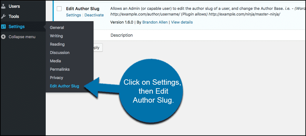Click on settings then edit author slug