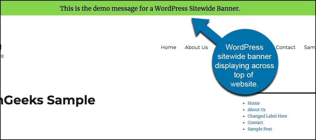 Wordpress sitewide banner displaying across top of website