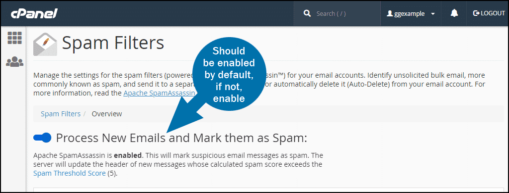 cPanel email spam filters step 1