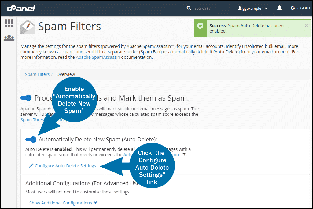 cPanel email spam filters step 2