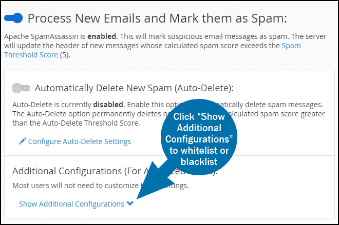 cPanel email spam filters step 4