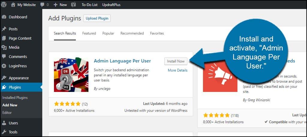 Admin Language Per User