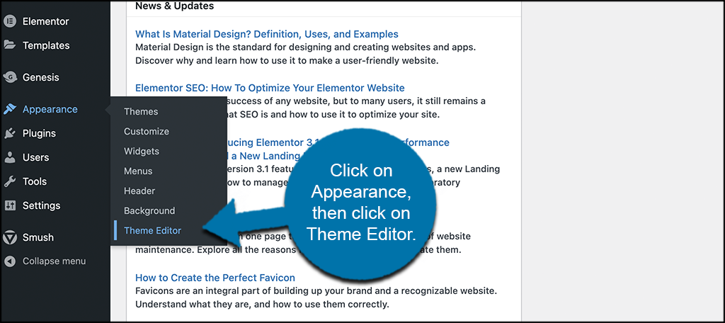Click on appearance then theme editor to access default wordpress loop