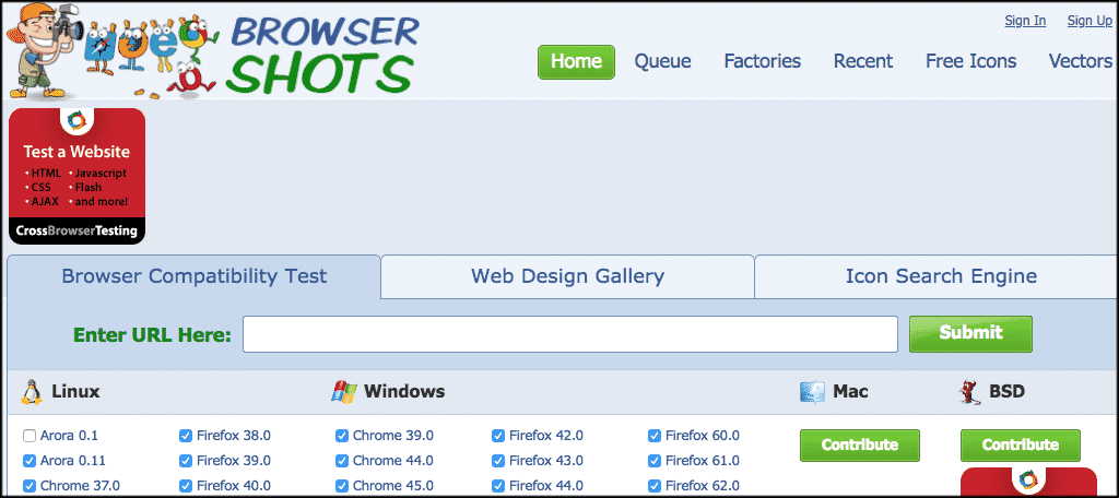 Browsershots cross browser testing tool