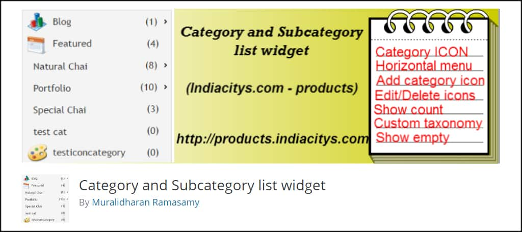 Category Subcategory List Widget