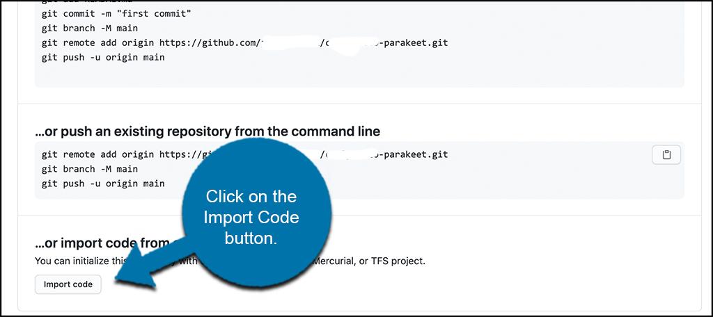 Click import code button
