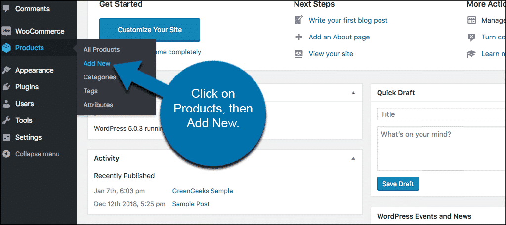 Click on products then add new to add a product