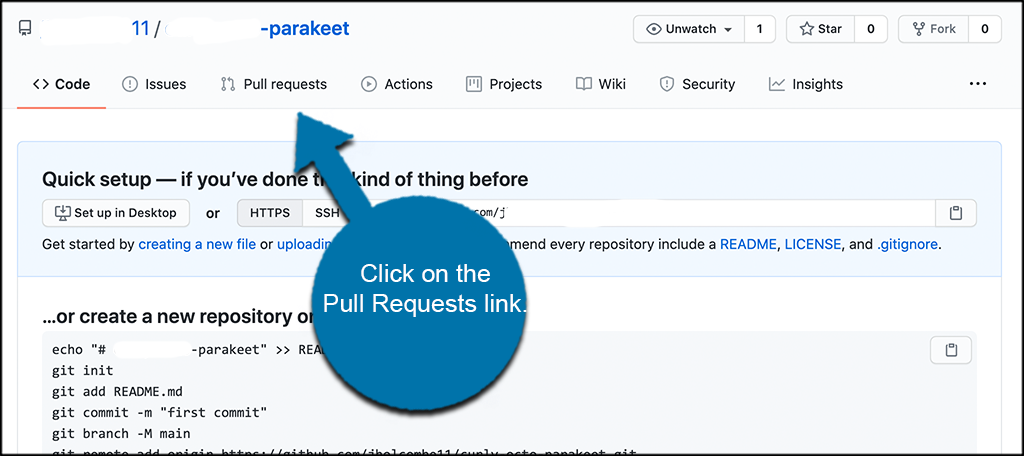 Click on the pull requests link